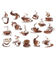 Hot coffee icons and symbols vector image vector image