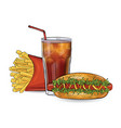 hot dog free and drink in the sketch style on the vector image