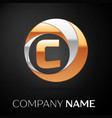 letter c logo symbol in the golden-silver circle vector image
