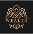 letter w logo - classic luxurious style logo vector image