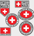 made in switzerland label set with flag swiss vector image