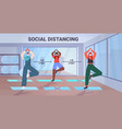 mix race girls in masks doing yoga exercises vector image vector image