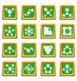 molecule icons set green vector image vector image