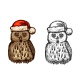 Owl in red christmas hat sketch icon vector image