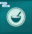 porridge icon on a green background with arrows vector image vector image