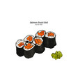salmon sushi roll hand draw vector image vector image