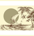 sea scene a boat on waves and palm trees vector image