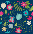 seamless floral pattern on dark blue background vector image