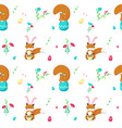 seamless pattern with cute easter animals vector image vector image