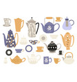 set different teapots and cups vector image