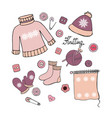 set of hand drawn elements for knitting on white b vector image vector image