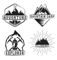 set vintage labels mountain adventure and vector image