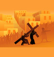 simon cyrene helps jesus carry his cross vector image vector image