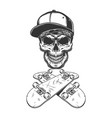 skateboarder skull in baseball cap and bandana vector image vector image