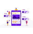social media concept banner with phone and small vector image vector image