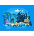 Sunken ship under water vector image vector image