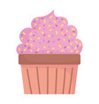 sweet cupcake pastry food cartoon icon style vector image vector image