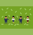 team of asian business people holding dollar vector image vector image