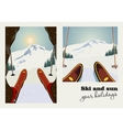 vintage poster two pictures skier vector image vector image
