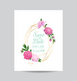 wedding invitation floral template pink peonies vector image vector image