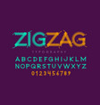 zigzag font stitched with thread embroidery font vector image vector image