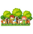 people watering and planting in garden vector image