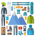 winter sportswear and equipment icon set skiing vector image