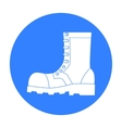 army combat boots icon in black style isolated