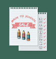back to school sale banner on green background vector image vector image