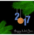 Basketball balls on Christmas tree branch vector image vector image