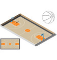 basketball court isometry basketball ball vector image vector image