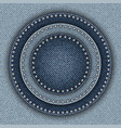blue denim circles with sequins vector image vector image