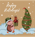 bull is symbol 2021 happy holidays vector image vector image