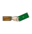 business hand man holding banknote dollar vector image vector image