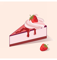 Cake slice with strawberry cream vector image
