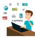 cartoon man laptop e-commerce isolated design vector image vector image