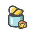 cheese chips box icon cartoon vector image vector image