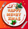 christmas plate with gingerbread cookie table vector image vector image