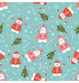 Christmas seamless pattern with snowmen vector image