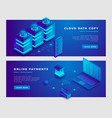 cloud data copy and online payments concept banner vector image vector image