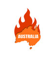 continent australia on fire map australia with vector image vector image