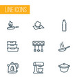 cook icons line style set with electric kettle vector image