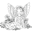 Cute angel with bunny Coloring book vector image vector image