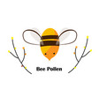cute cartoon bee tree branches and bee pollen vector image