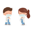 cute young doctors couple with face mask do thai vector image