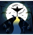 Dracula silhouette on moon background vector image vector image