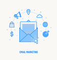 email infographic concept thin blue line design vector image vector image
