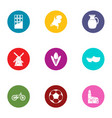 euro chocolate icons set flat style vector image vector image