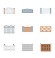 fence icons set flat style vector image