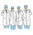 four doctor in medical wear showing fists for vector image vector image